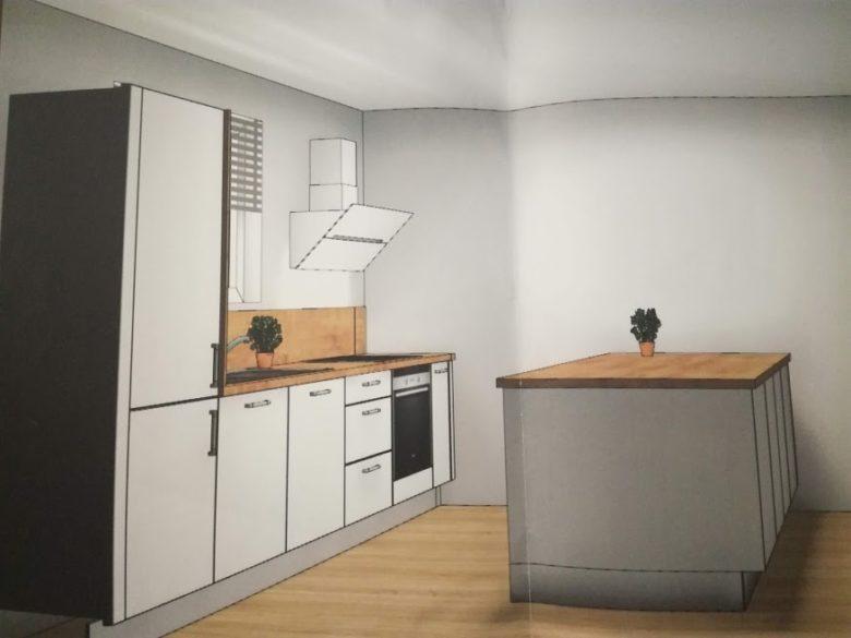 Plan cuisine bois & blanc