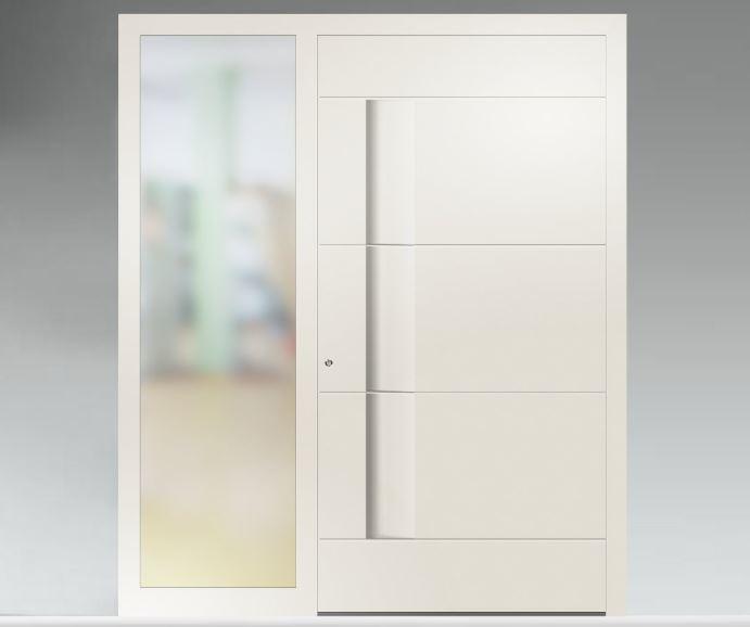 Porte d'entrée aluminium avec side