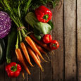 Food Vegetable Colorful Background. Tasty Fresh Vegetables on Wooden Table. Top View with Copy Space. Horizontal.