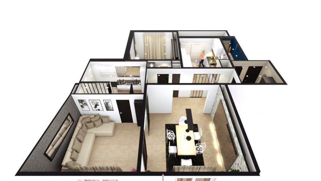 plan 3D appartement architecture intérieure
