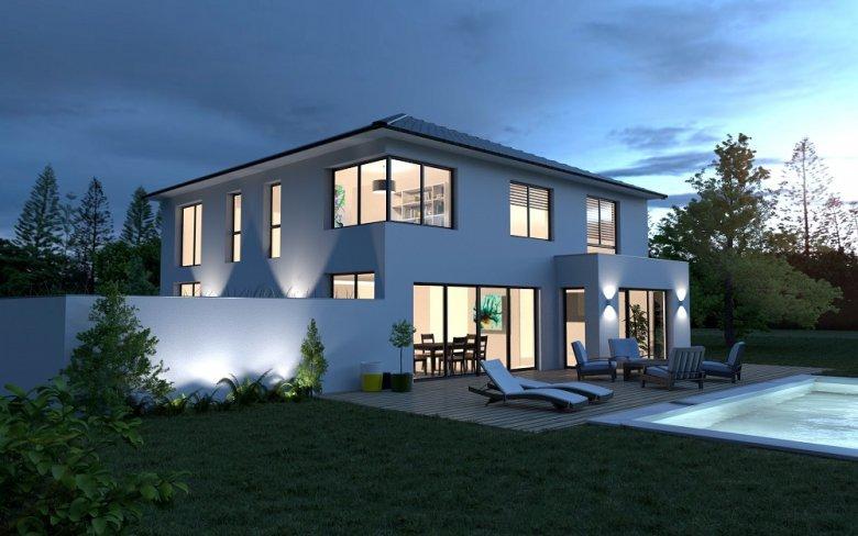 modèle de maison vue de nuit
