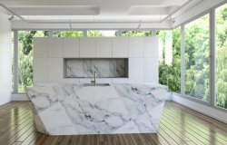 3d rendering of new marble kitchen interior room