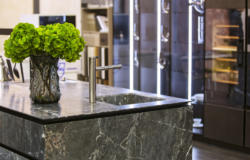 Beautiful modern kitchen design, kitchen faucet and kitchen décor, gray marble kitchen island