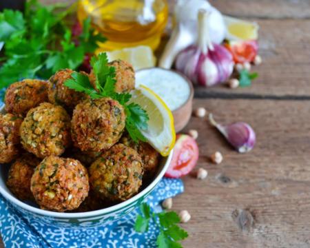Falafel - deep fried balls of ground chickpeas