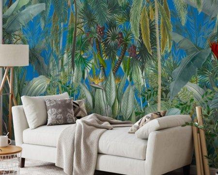 papier-peint-jungle-panoramique-bleu